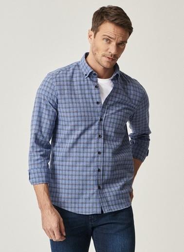 Altınyıldız Classics Tailored Slim Fit Dar Kesim Düğmeli Yaka Kareli Gömlek 4A2021100144 İndigo